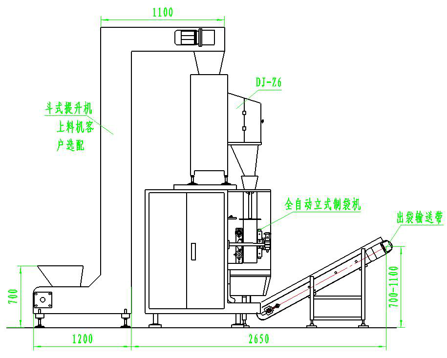 5.颗粒灌装机操作条件 包装机自动计量、喂料、可配传送带。需人工配合套袋、协助封口,单人可操作。 6.颗粒灌装机技术规范及标准 产品符合中华人民共和国商业部部标准 SB222—85机械通用技术条件基本技术要求及食品卫生标准。 7.设计附加说明 根据客户要求和物料的性能,可提供附加设计方案如下: 按你需要加配吸尘装置,或配套工业吸尘器。 可加配热封口机,抽真空封口机。 可按需加配输送带、无斗上料机、储料仓。 对于易然易爆的化工原料的包装,电机和电控柜可进行防爆处理。 本包装机也可根据物料要求制